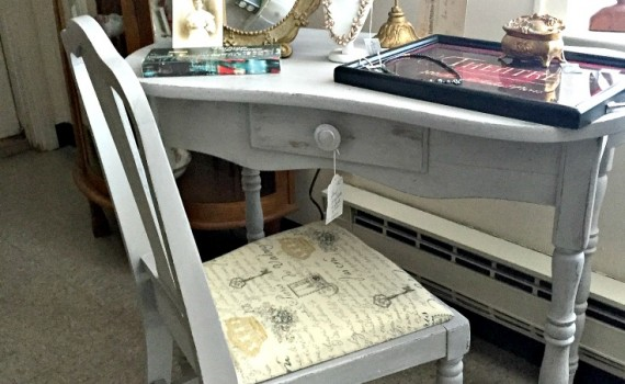 Gray Chalk Painted Vanity and Chair